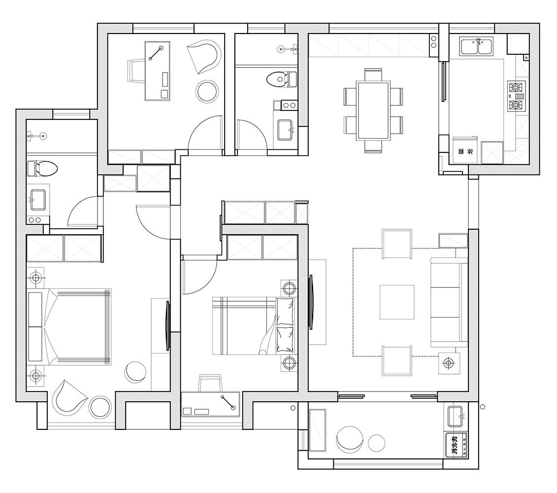 国安公馆北欧二居室装修设计理念